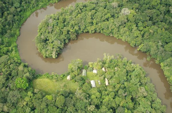 Camp Arataï en vue aérienne © M. Dewynter