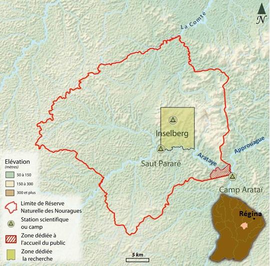 Carte de localisation et zonages de la RNN des Nouragues