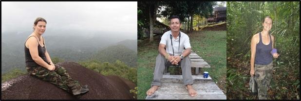 L'équipe de la réserve naturelle des Nouragues, la conservatrice et les deux gardes