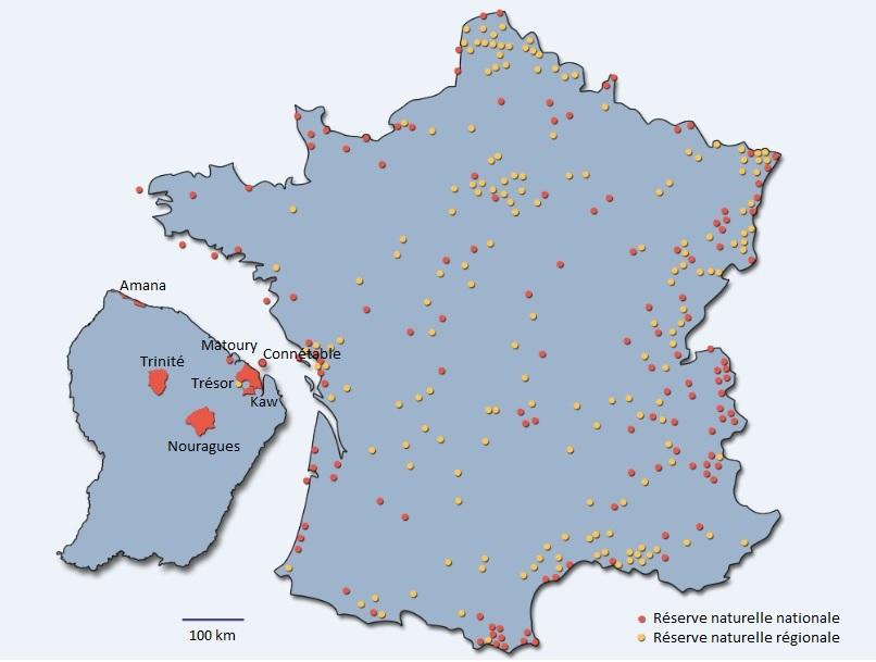 Carte des réserves naturelles de France dont celles de la Guyane